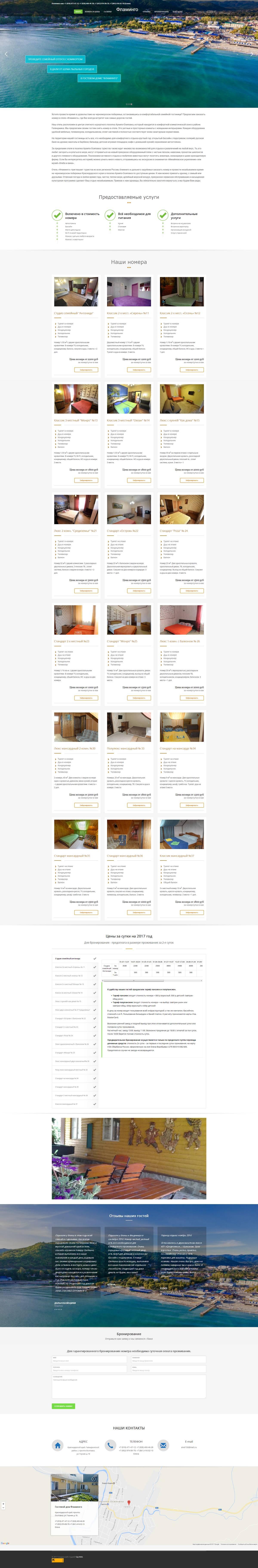 Сайт гостевого дома Фламинго